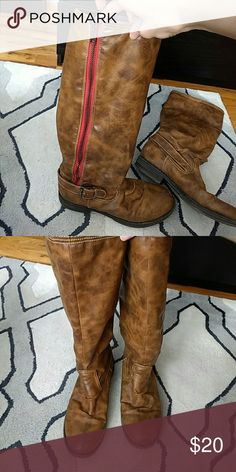 Madden girl wide calf boots Used Madden girl wide calf boots. A few scapes on the toes. Madden Girl Shoes Heeled Boots