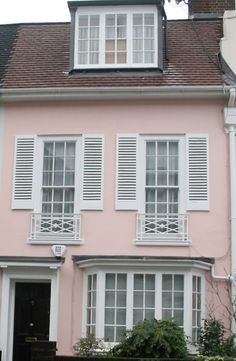 white shutters on pink house, brow shingles White Exterior Houses, House Paint Exterior, Exterior Design, Pink Houses, Little Houses, Cabana, White Shutters, My Ideal Home, Beach Cottage Style