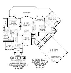 Ashland Manor II House Plan # 10088, 1st Floor Plan, Traditional Style House Plans, European Style House Plans