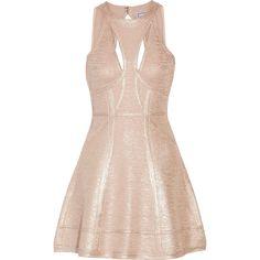 Hervé Léger - Alina Cutout Metallic Bandage Mini Dress ($627) ❤ liked on Polyvore featuring dresses, rose gold, short pink dress, pink cocktail dress, body con dress, mini dress and bodycon mini dress