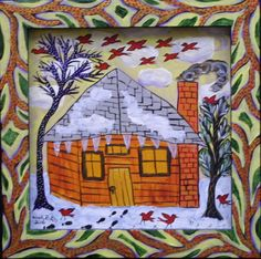 """""""Little Cabin and Red Birds in Winter"""" by Sarah Rakes  acrylic on wood panel and artist's frame  9"""" x 9""""   $250   #11638"""