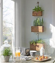 Rustieke houten plantenbak kist - drie Tier plantenbakken-teruggewonnen hout stijl Decor van de keuken van de vaas - Rustiek Decor - landkeuken - rustieke plantenbakken -