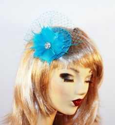 Turquoise Feather Fascinator Hat with Netting Birdcage Veil - Turquoise Cocktail Hat for Kentucky Derby - Wedding Tea Party Hat on Etsy, $45.00