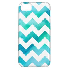 Modern Blue Watercolor Chevron iPhone 5C Case