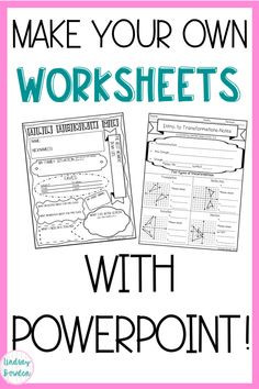 Make Worksheets in 6 Easy Steps – Lindsay Bowden Make your own resources with PowerPoint! Six easy steps to make your own worksheets, assessments, and more! Teacher Tools, Teacher Hacks, Teacher Resources, Teacher To Teacher, Powerpoints For Teachers, Resource Teacher, Teachers Pay Teachers Freebies, Teacher Worksheets, Teacher Supplies