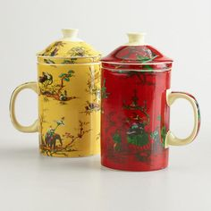 One of my favorite discoveries at WorldMarket.com: Chinois Toile Infuser Mugs, Set of 2
