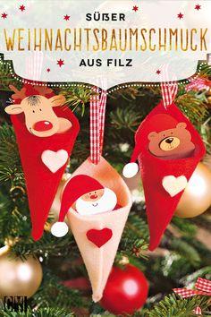 Diesen niedlichen Weihnachtsbaumschmuck mit Bär, Elch und natürlich dem Weihnachtsmann kannst du ganz leicht selbst basteln.