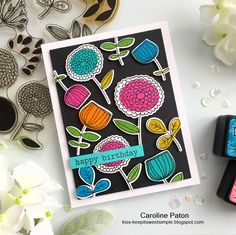 SKETCHY FLOWERS : by Caroline Paton using MFT stamps set and Distress Inks