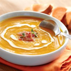 Roasted Sweet Potato Soup with Bacon