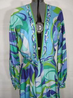 Vintage 70s Emilio Pucci Silk Dress Jacket & Skirt Size 14