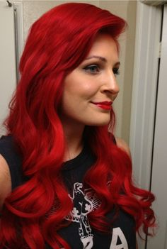 Manic Panic Rock 'n' Roll Red looks both beautiful and edgy on this babe!  She seriously looks like Ariel and I LOVE IT.