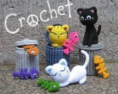 *** Alley Cats PDF Crochet Pattern *** Hello & thank you for visiting :)  This is Alley Cats, a PDF pattern for you to make 3 poor but happy little cats looking for food at their diner. Also included is the pattern for their favorite - fish bone. There is also a pattern to crochet a garbage can. (You can turn the fish bone into a pin by sewing it to a metal pin back.)  There are many pictures included in the file to help you create them. You need to have some experience with crochet (ex…
