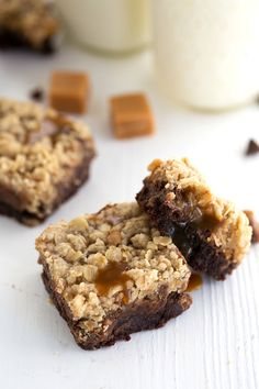 Caramel Chocolate Brookies - Brownies + Oatmeal Cookies combined in one delicious bar!