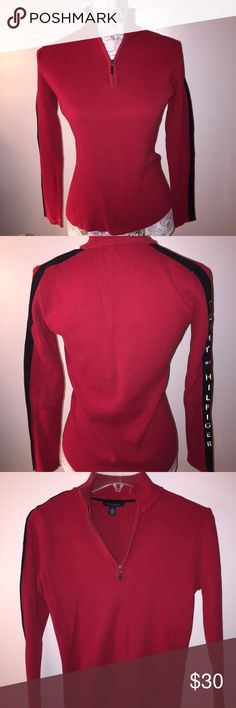 Tommy Hilfinger 3/4 zip neck longsleeve sweater. Tommy Hilfinger 3/4 zip neck longsleeve sweater. Red with blue and white Tommy on sleeve. 100% cotton. In great condition. Tommy Hilfiger Sweaters V-Necks