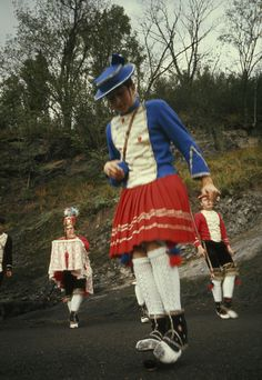 Basque youth in traditional dress performs Dance of the Zamalzain.