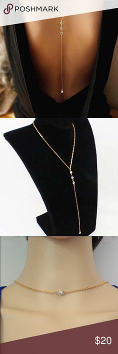 """Backdrop Body Chain Rhinestone Gold Backdrop Body Chain Necklace Material: Alloy Length: 25.5* 11.8"""" New In Packaging Jewelry Necklaces"""