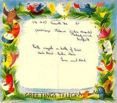 Three great post-war designs for telegrams and postal orders by Barbara Jones, Fritz Wegner and Patrick Tilley. English Artists, Popular Art, Envelopes, Ephemera, Postcards, Our Wedding, Frames, Label, Stationery