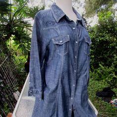 Reba Denim 3/4 length sleeve Shirt Dress Size 16 EPIC Rhinestone accents $98 #Reba #ShirtDressdenimshirtdress #casual