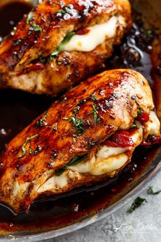 Caprese Stuffed Balsamic Chicken is a twist on Caprese, filled with both fresh AND Sun Dried Tomatoes for a flavour packed chicken!   https://cafedelites.com