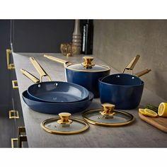 Buy Tower 5 Piece Ceramic Non Stick Pan Set - Blue and Gold   Pan sets   Argos Black Toaster, Ceramic Non Stick, Pan Set, Non Stick Pan, Argos, Healthy Cooking, Tower, Cleaning, Ceramics