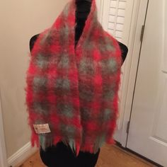 """FLUFFY VINTAGE MOHAIR BLEND SCARF MADE IN SCOTLAND CRAIG-NA-CREIDHE MOHAIR BLEND VINTAGE SCARF MADE IN SCOTLAND measures 40"""" by 7"""" has pulling does not affect beauty of scarf Accessories Scarves & Wraps"""