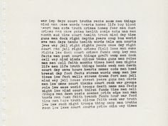 Gedicht von Carl Andre (© Carl Andre)