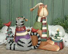 Cat In Sweaters With Snow Globe Figurine – Christmas Folk Art & Holiday Collectibles – Williraye Studio