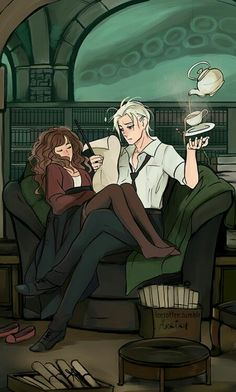 Harry Potter - Draco Malfoy x Hermione Granger - Dramione I don't really ship it but. Harry Potter Anime, Harry Potter Fan Art, Fan Art Hermione, Harry Potter Universe, Images Harry Potter, Harry Potter Couples, Fans D'harry Potter, Mundo Harry Potter, Harry Potter Ships