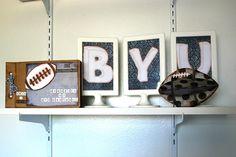#DIY BYU football decor for a little boy's room