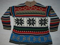 HUGO BOSS SKI WOOL SWEATER JUMPER PULLOVER FUNNEL Fair Isle Nordic Cable Knit