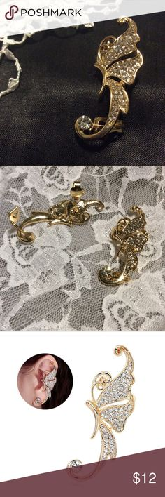 🌺New 1pc butterfly earring clip gold & rhinestone Great accented butterfly, fairy, pixie jewelry pretty for any occasion, very fun for special events and lovely for EDC, raver or festivals. NWOT Jewelry Earrings