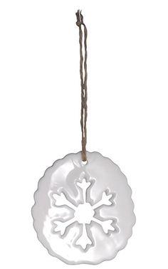 Madam Stoltz Keramikanhänger mit Eiskristall  und Jute Band /ceramic ornament www.shabby-style.de