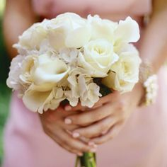 White bouquet with Roses, Hydrangeas, and Calla Lilies. This is the bouquet that I am going to use.