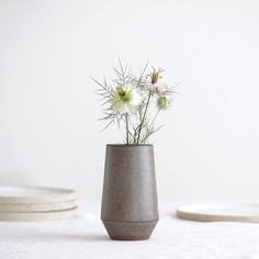 Vintage Vase braun/mint gesprenkelt