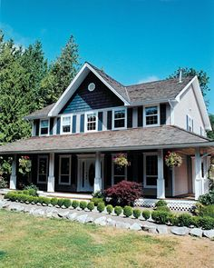 Traditional with an essence of farmhouse flavor, this four-bedroom home begins with a wraparound covered porch. Luxury House Plans, Dream House Plans, Small House Plans, House Floor Plans, Farmhouse Plans, Country Farmhouse, Country Houses, Country Living, Farmhouse Living Room Furniture