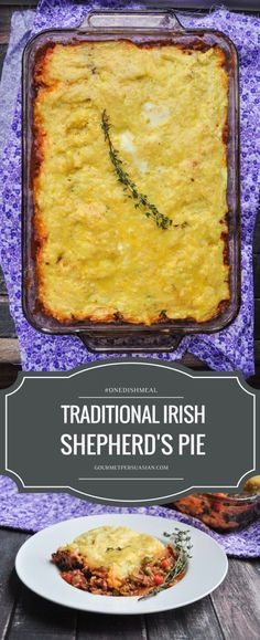A delicious and healthy Traditional Irish Shepherd's Pie recipe that will become a staple in your house if you give it a try! #onedishmeal #shepherdspie ( Hmmm the recipe states 'Beef' but I always thought traditional meat was 'Lamb' hence it was named 'Shepherd's Pie' and 'Beef' or other meat e.g pork is named 'Cottage Pie'... but I guess it doesn't really matter, they all taste 'yummo'!!!! )