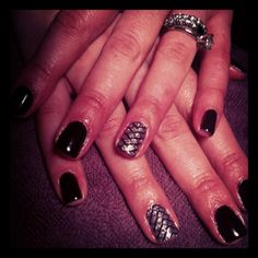 """OPI Gel color """"Lincoln Park After Dark"""" with an OPI Lacquer Appliqué  on the ring finger."""