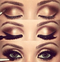 Gold and brown with black winged eyeliner- Start with gold shimmer-eyeshadow Next use a soft brown eyeshadow Then use liquid eyeliner to create angled wings Finally use mascara to coat your top and bottom eyelashes
