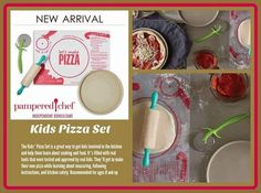 "www.pamperedchef.biz/nancymeadows  ITEM NUMBER: 1477 $42.00 The Kids' Pizza Set is a great way to get kids involved in the kitchen and help them learn about cooking and food. It's filled with real tools that were tested and approved by real kids. They'll get to make their own pizza while learning about measuring, following instructions, and kitchen safety. Recommended for ages 8 and up. Details Personal Size Round Stone 8½"" round baking stone. ¼"" raised lip. Unglazed. Serve right from the…"