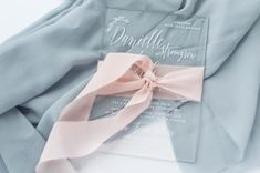 Acrylic Wedding Invitations with White Ink Calligraphy. Tono & Co ribbon. By With Wild and Grace