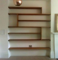 Sue, carrying the idea of visual texture again with these shelves in a darker natural wood will draw the eye to this alcove. Alcove Storage, Alcove Shelving, Built In Shelves, Wood Shelves, Display Shelves, Fireplace Shelves, Built Ins, Living Room Shelves, Shelves In Bedroom