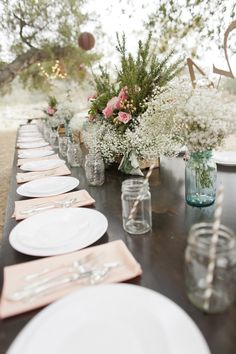 Rustic Elegance | Baby's Breath | Wedding Tablescape | Photography: Jessica Claire | On SMP: http://stylemepretty.com/2013/08/12/trabuco-canyon-wedding-at-the-parker-ranch-from-jessica-claire/
