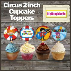 Circus Themed 2 inch Square Cupcake Toppers, Jewelry, Keychains and more! by DigiGraphics4u on Etsy