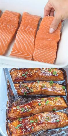 36 reviews · 25 minutes · Gluten free · Serves 4 · Flaky and tender salmon with a delicious homemade teriyaki sauce, baked to perfection for an easy healthy dinner option. Salmon Recipes, Seafood Recipes, Keto Recipes, Chicken Recipes, Healthy Recipes, Salmon Food, Salmon Dinner, Tuna Recipes, Keto Chicken