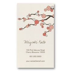 45 best asian zen business cards images on pinterest name cards pink sakura oriental zen chinese cherry blossoms business card colourmoves