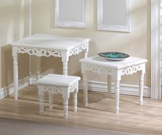 COTTAGE CHIC NESTING ACCENT TABLE FLORAL CUTOUTS DECOR SET OF 3 NEW~10016842 #Cottage