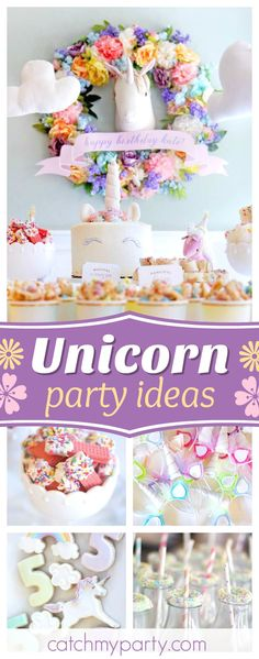 Don't miss this Magical Unicorn Art Party. Absolutely love the backdrop with the floral wreath!! See more party ideas and share yours at CatchMyParty.com