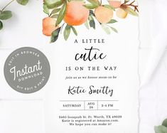 Little Cutie Baby Shower Invitation | Oranges Baby Shower Invitation