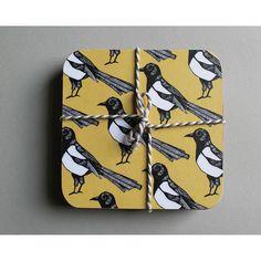 Mischievious Magpie Coaster from notonthehighstreet.com #magpie #coaster #placemat #marthaandhepsie #design