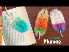 Plumas de colores en macramé / Tejiendo Perú -- feather of yarn µcroch crochet knot Crochet Bookmark Pattern, Crochet Bookmarks, Crochet Patterns, Crochet Feather, Feather Pattern, Nativity Crafts, Beautiful Crochet, Crochet Projects, Creations